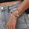 Новинка 2020, 8 шт./компл., браслеты HangZhi из бусин в богемном стиле, красочные цветы, Маргаритка, жемчуг, сердце, очаровательные ювелирные издели...