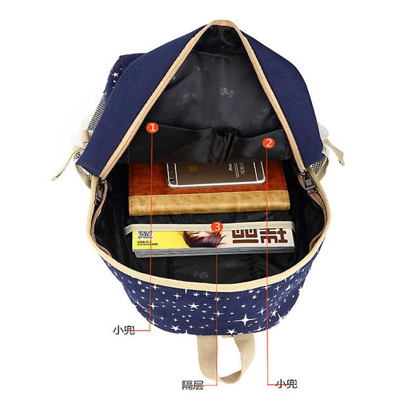 3 pz/set Borse Da Scuola Per Le Ragazze Le Donne Zaino Borse Da Scuola Star Stampa Dello Zaino Donne Borsa Da Viaggio Zaini Mochila