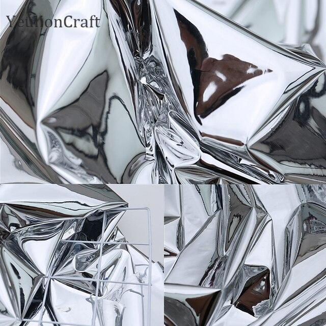 Chzimade 50x137cm prata reflexivo espelho pano roupas à prova dwaterproof água vestuário criativo dupla face espelho de prata tpu tecido
