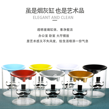Glass ashtray with lid 4