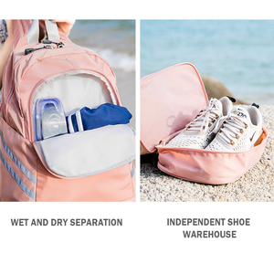 Image 5 - Women Pink Sport Gym Bag Waterproof Fitness Swimming Backpack Yoga Training Bag Shoe Compartment Travel Luggage Bag Sac De Sport
