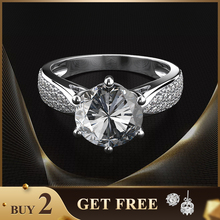 Shipei 100% 925 Sterling Silver Moissanite Ring White Gold Rose for Women 2ct Engagement Anniversary