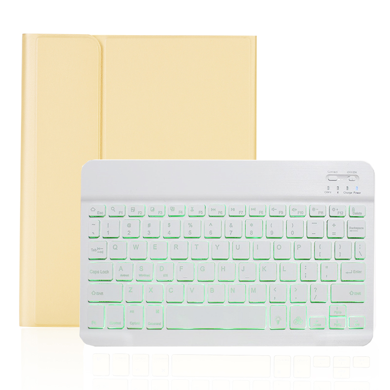 yellow with white Pink Backlit Keyboard Case for iPad 10 2 2019 7 7th 8th Generation with Pen Slot A2197