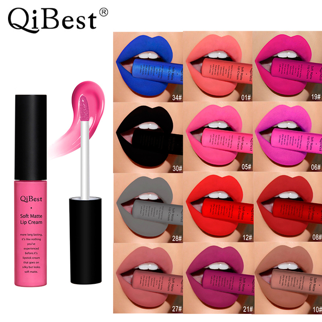 Qibest Brand 34 Colors Waterproof Matte Nude Lipstick Lipkit Pigment Dark Red Black Long Lasting Lip Gloss Women Makeup Lipgloss 4
