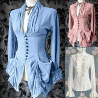 Shirt Solid Color Tops Costume Victorian Steampunk Sleeve Vintage Long Women