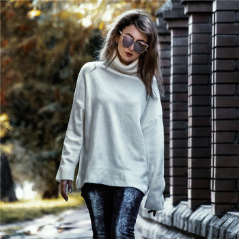 Ailegogo Women Pullover Sweater Knitting Autumn Winter Casual Solid Turtleneck Vintage Ladies Thick Tops SW1027 3