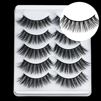 5 Pairs Multipack 5D Soft Mink Hair False Eyelashes Handmade Wispy Fluffy Long Lashes Nature Eye Makeup Tools Faux Eye Lashes 1