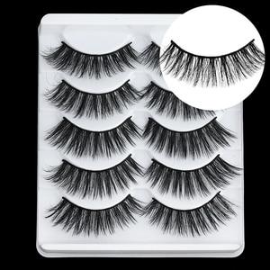Image 2 - 5 Pairs Multipack 5D Soft Mink Hair False Eyelashes Handmade Wispy Fluffy Long Lashes Nature Eye Makeup Tools Faux Eye Lashes