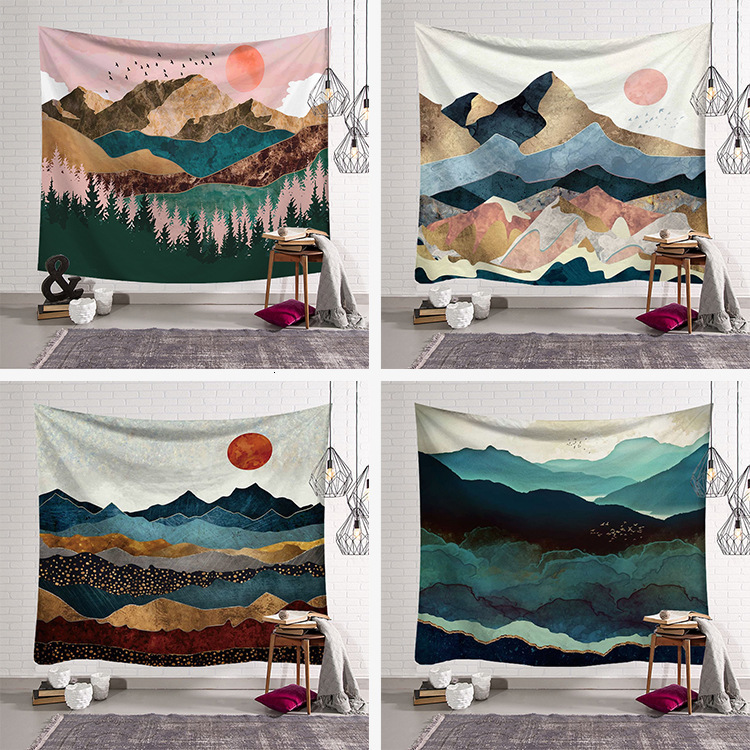 Nordic Sunset Mountain Tapestry Wall Hanging Bohemian Bedspread Dorm Decor Tapestries Psychedelic Scenic Wall Carpet Beach Mat