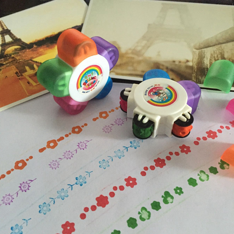 Baby Drawing Seal Toys Child Stamps Plum Roller Seals For Kids Scrapbooking DIY Painting Preschool Puzzle Stationery Stamp Gifts