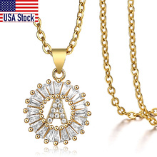 Cute CZ Initial Letter Pendant Necklace For Women Girls Stainless Steel Rolo Chain Rhinestone Gold Name Charms Jewelry GP399C