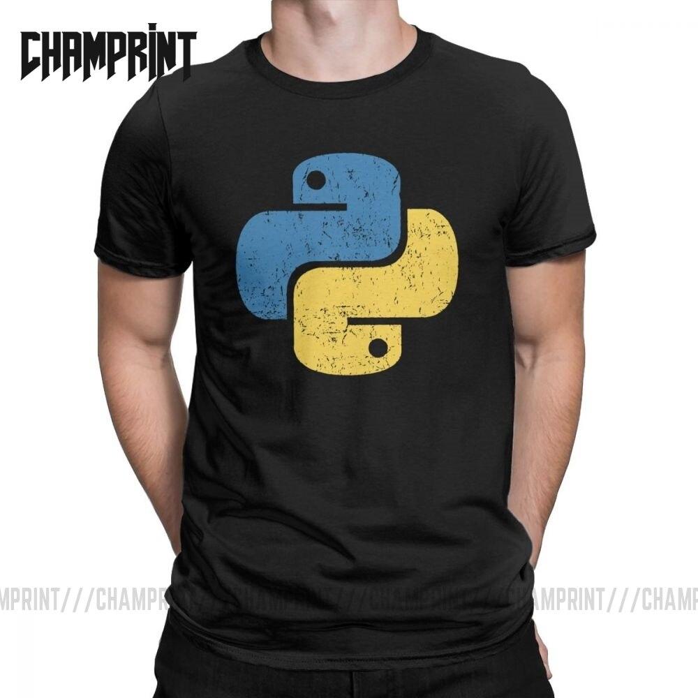 Vintage Python T-Shirt For Men Crew Neck Cotton T Shirt Distressed Programming Programmer Developer Tee Plus Size Clothes