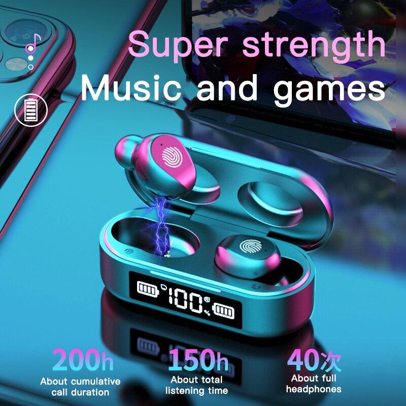 Беспроводные Bluetooth наушники с микрофоном, спортивные водонепроницаемые беспроводные наушники, гарнитура с сенсорным управлением, музыкаль...
