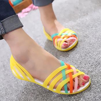 Żelowe sandały damskie sandały damskie drewniaki damskie mieszkania sandały galaretki buty kobieta Sandalie letnie klapki damskie buty sandały damskie tanie i dobre opinie DEleventh CN (pochodzenie) Mieszkanie (≤1cm) Na co dzień sandały kąpielowe Płaskie z Otwarta RUBBER Wsuwane Dobrze pasuje do rozmiaru wybierz swój normalny rozmiar