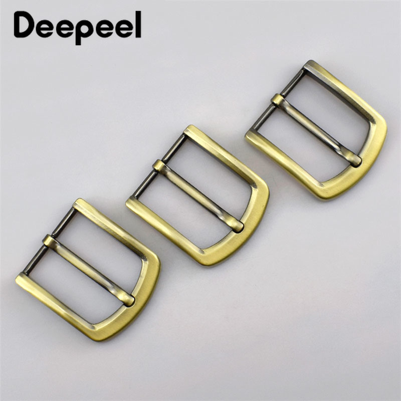Deepeel 4cm Metal Antique Brass Belt Buckle Solid Pin For Men Belt Adjustable Buckle DIY Leather Craft Accessories F1-81