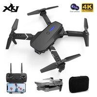 Xkj 2021 novo mini zangão 4k hd grande angular câmera dupla altura hold wifi fpv dron rc dobrável quadcopter helicóptero presente brinquedos