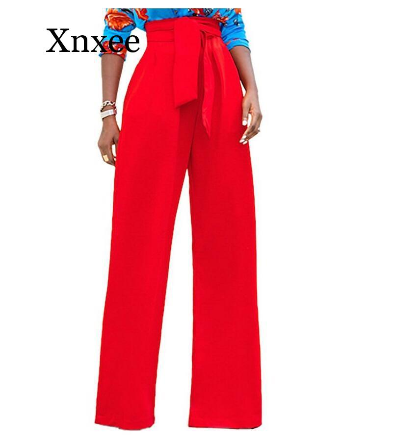 2020 New Sexy Stretch High Waist Flare Pants Women Elastic Loose Wide Leg Pants Female Solid Casual Trousers With Pocket