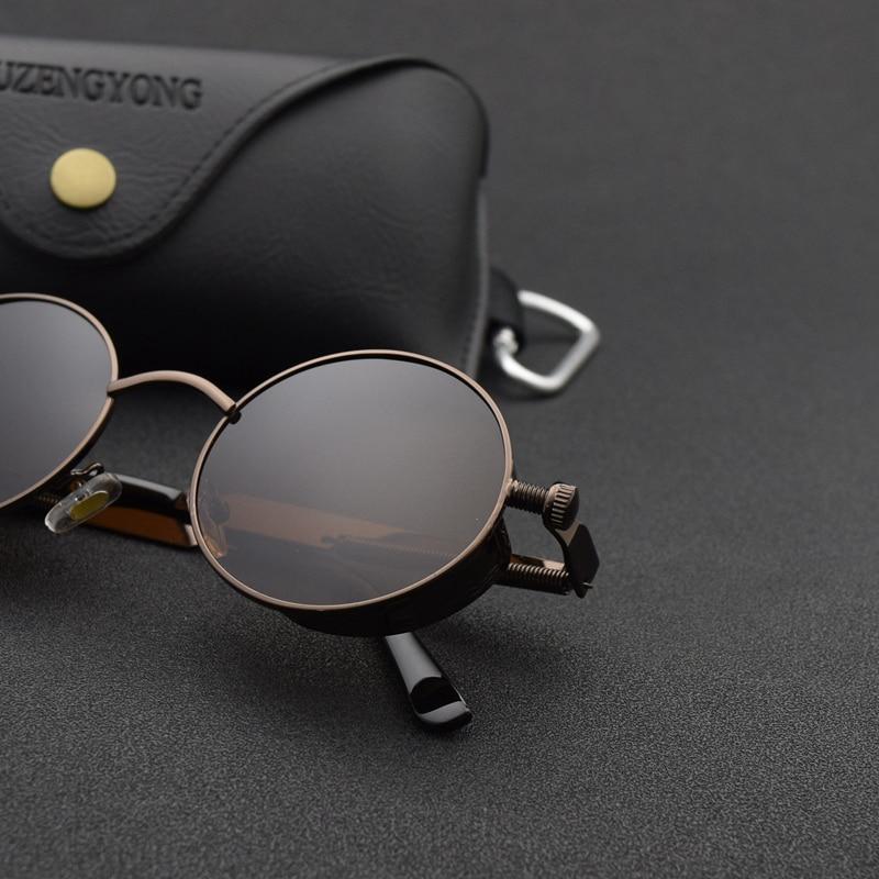 Classic Gothic Steampunk Sunglasses Polarized Men Women Brand Designer Vintage Round Metal Frame Sun Glasses High Quality UV400 2