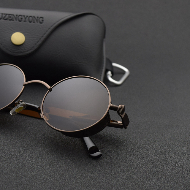 Classic Gothic Steampunk Sunglasses Polarized Men Women Brand Designer Vintage Round Metal Frame Sun Glasses High Quality UV400 2