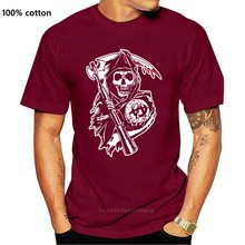 Print Men T Shirt Summer Motorcycle Fans Skull Reaper Crew BIG TALL 3XL Mens T-Shirt T-Shirt