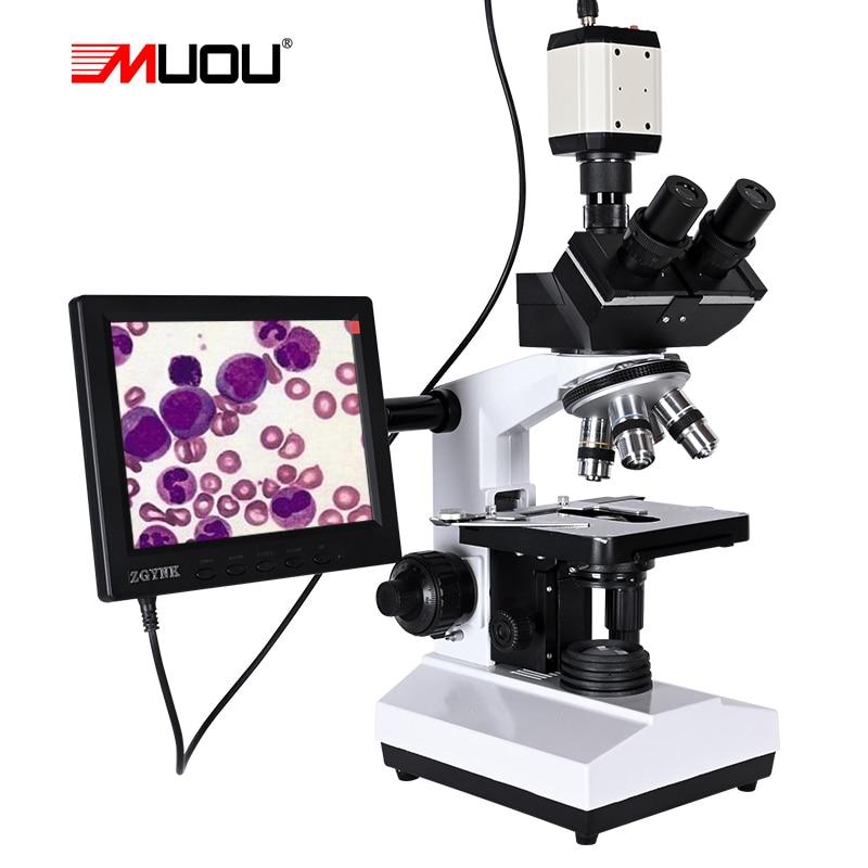 Professional Lab biological HD trinocular microscope zoom 2500X    USB HDMI VGA CVBS electronic digital CCD Camera   8-inch LCD