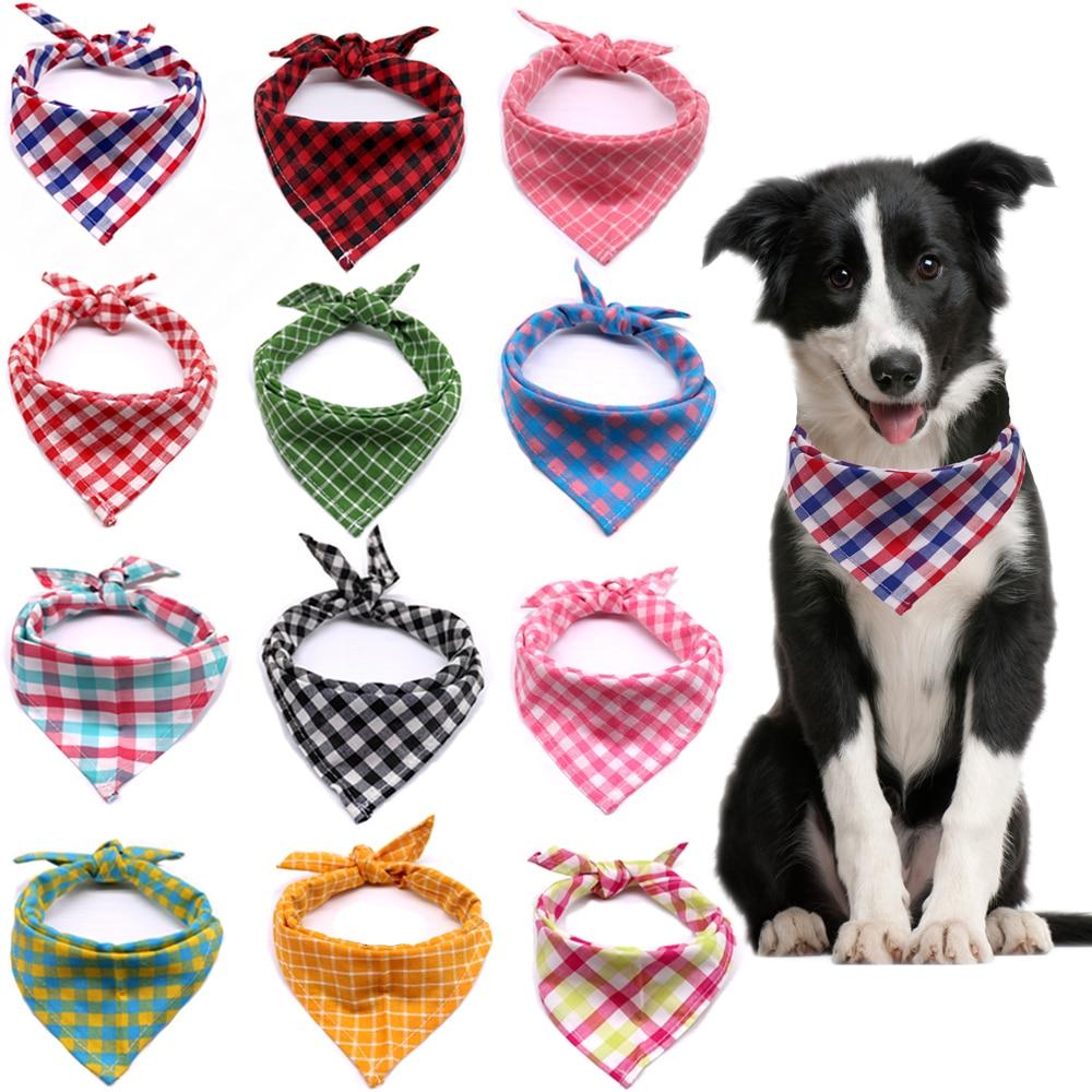1pcs Dog scarf Plaid Style Puppy Cat Dog Bandana Bibs Cotton Washable Bandana Dog Accessories for