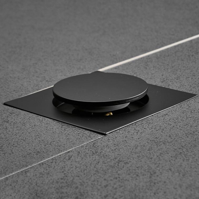 Image 3 - IIBizza Pop Up Foot Floor Drain Brass Chrome Plated Bathtub Push Down Deodorization type Square Modern Floor Cover Plug 10*10cmDrains   -