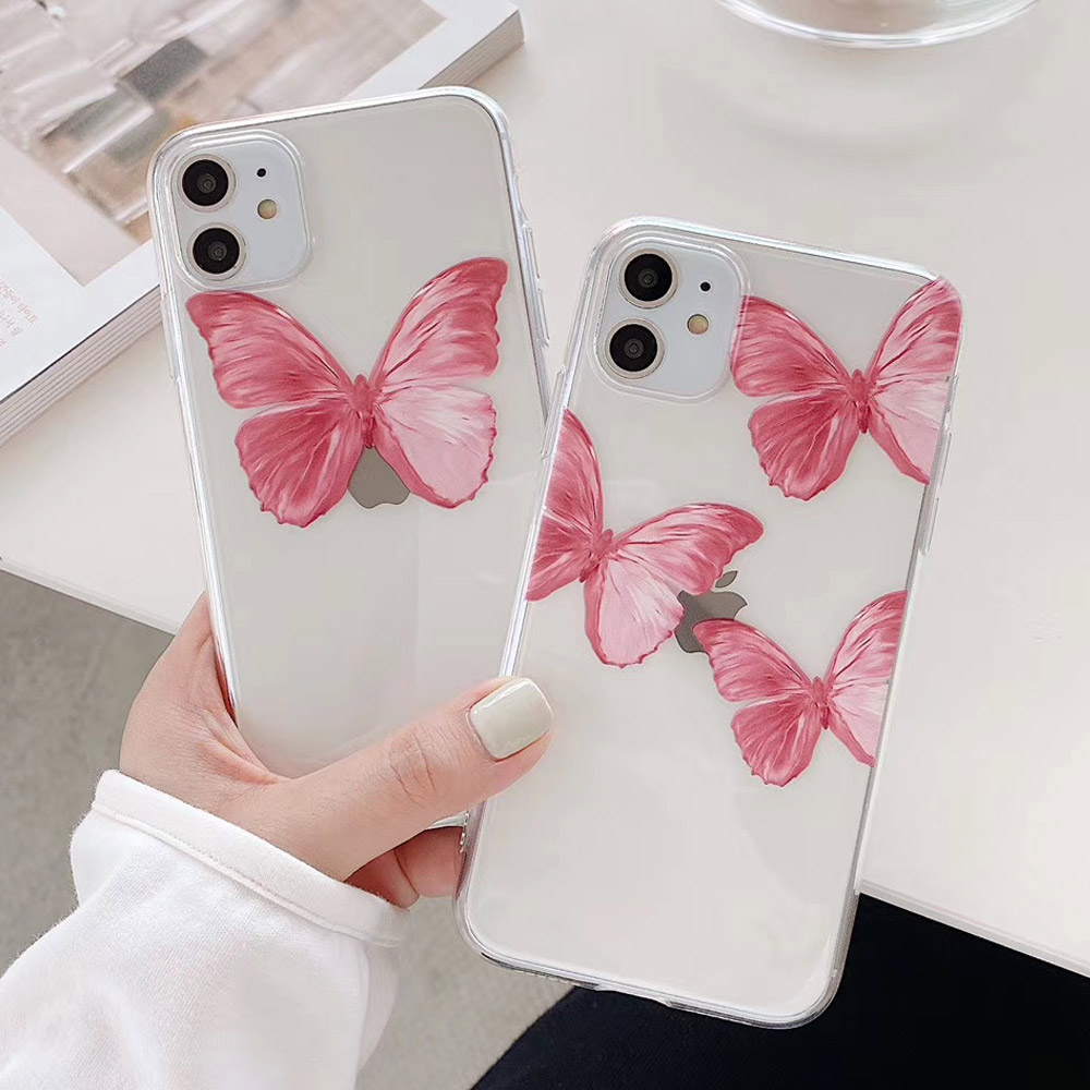 Cute Butterfly Pink Phone Case For Iphone 6 6S 7 8 Plus Transparent Case For Iphone 11 Pro XR XS Max X Clear Soft TPU Back Cover