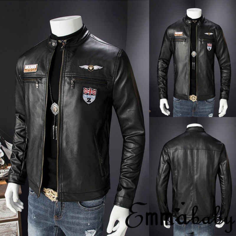 Emmababy Heren Retro Stijl Rits Biker Jacket Real Leather Soft Black Casual