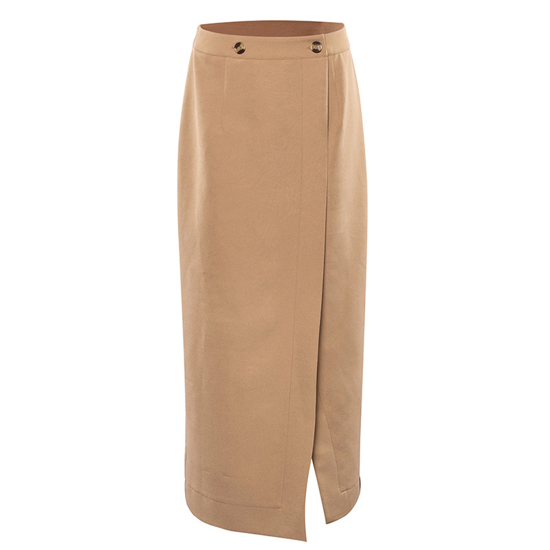 Elegant High Waist Front Split Midi Skirt 9