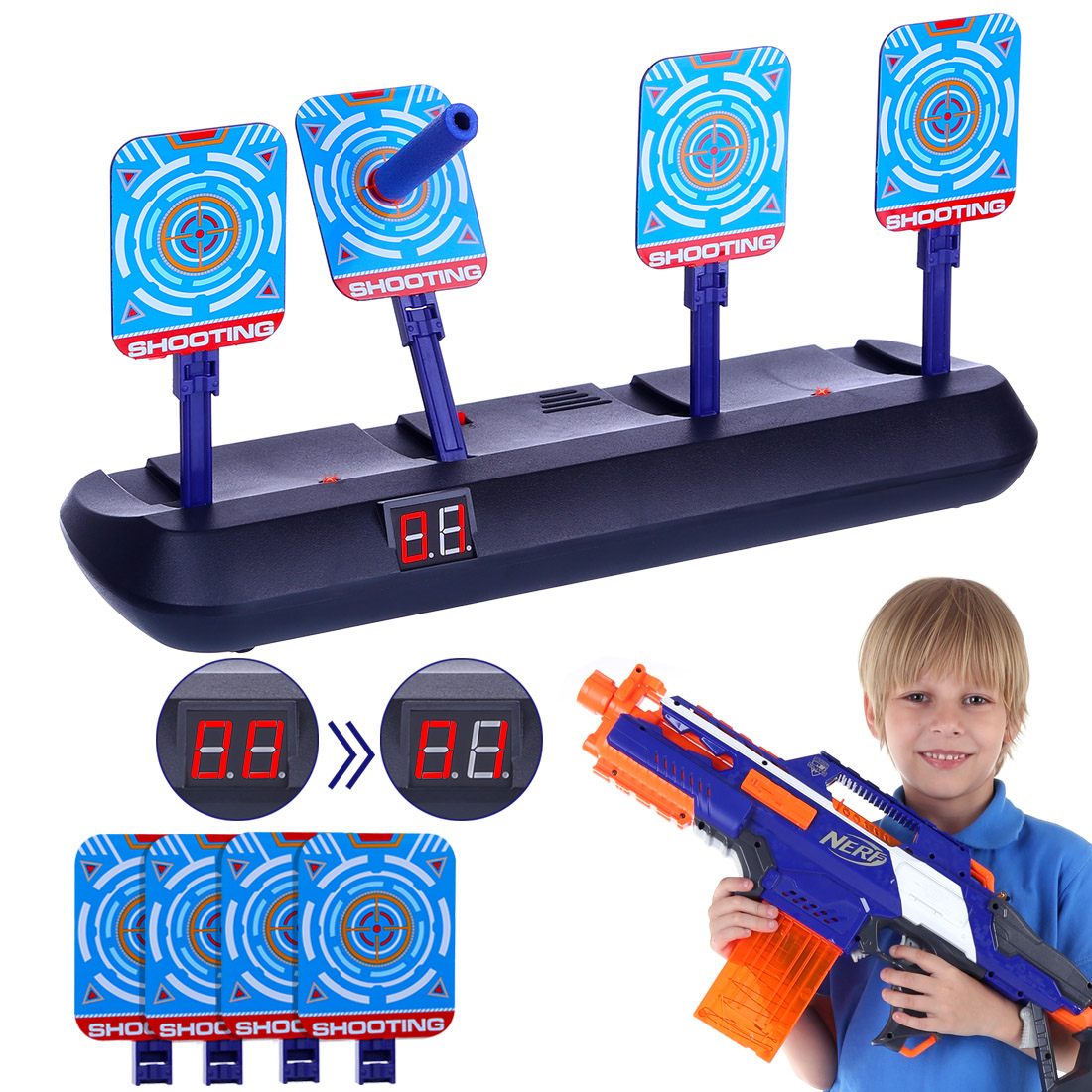 4 Targets Electronic Scoring Auto Reset Shooting Digital Target For Water Beads RoboMaster S1