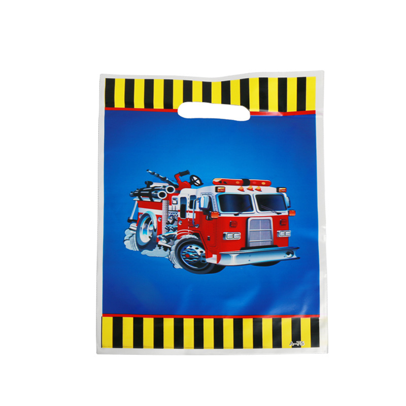 10pcs/lot Fire Truck Gift Bag For Baby's Birthday Party Plastic Loot Bag Children Baby Shower Candy Bag Decoration Accessory