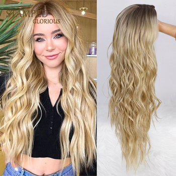 Stamped Glorious Middle Part Natural Wave Wigs Long Ombre Black Blonde Wig Heat Resistant Fiber Synthetic Wigs for Women wignee hand made front ombre color long blonde synthetic wigs for black white women heat resistant middle part cosplay hair wig