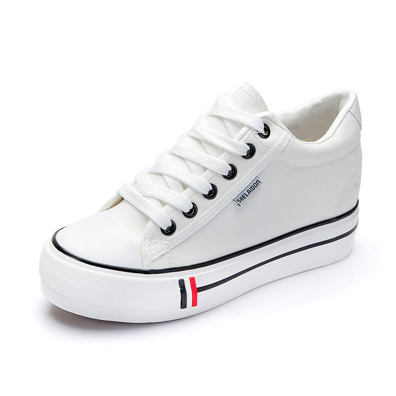 Women Sneakers Casual Flats Shoes 2020 New Fashion Solid Breathable Canvas Sneakers Lace-up Flat With Womens Shoes Sneakers