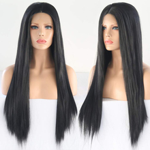 RONGDUOYI Middle Part Heat Resistant Synthetic Lace Front Wigs for Women Natural Straight Black Color Lace Wig with Baby Hair