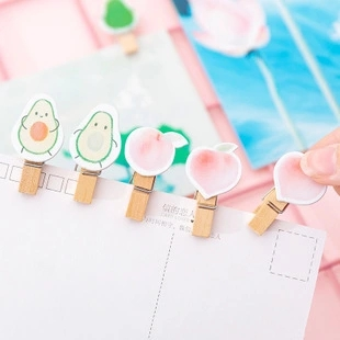 10 Pcs/pack Avocado Peach Decoration Wooden Clip Photo Craft DIY Clip Binder Gift With Hemp Rope