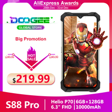 DOOGEE S88 Pro Rugged Phone 128GB 6GB LTE/WCDMA/GSM Nfc Adaptive Fast Charge Wireless Charging