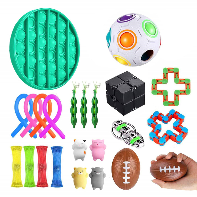 22 Pack Fidget Sensory Toy Set Stress Relief Toys Autism Anxiety Relief Stress Pop Bubble Fidget Sensory Toy For Kids Adults