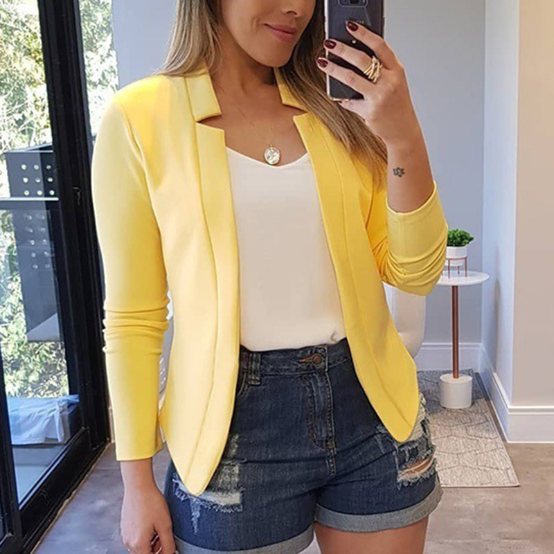 Plus Size S-5XL Women Autumn Solid Slim Long Sleeve Casual Business Suits Office Ladies European Style Elegant Blazers SJ4505Y