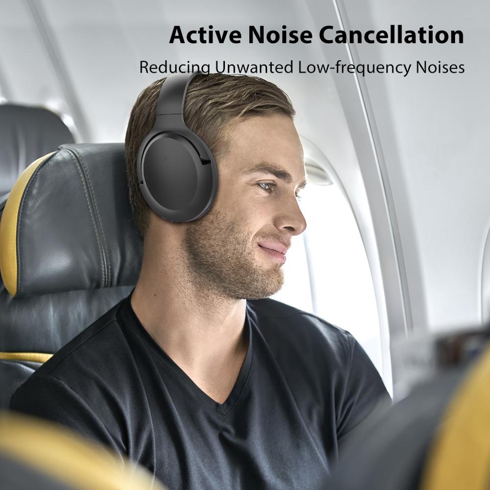 Avantree Active Noise Cancelling Hoofdtelefoon met Mic 35H Draadloze Bedrade ANC Over Ear Headset voor Vliegtuig Reizen - 5