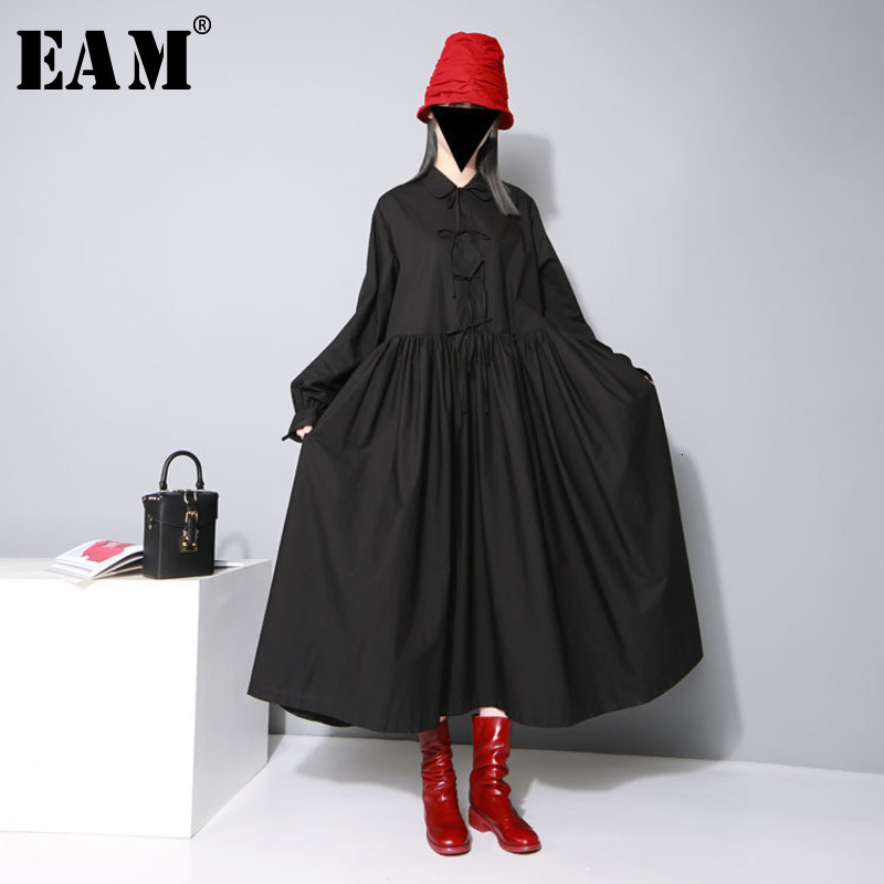 [EAM] Women Bandage Bow Split Joint Pleated Big Size Dress New Lapel Long Sleeve Loose Fit Fashion Tide Spring Autumn 2020 1D752