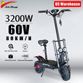 US Stock No Tax Electric Scooter 60V 3200W Dual Motor 11inch Off Road E Scooter Fasting Charger Long Skateboard Hoverboard CE