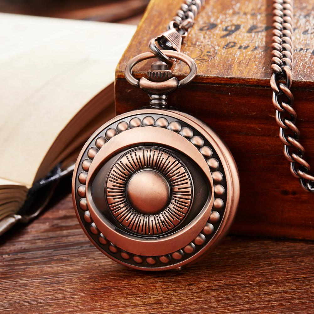 OYW Fashion Hand Winding Man Pocket Watch Hollow Skeleton Dial Bronze Fob Watch Men's Gift Vintage Necklace Chain Clocks Antique