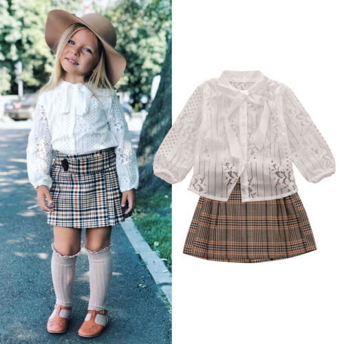 Mini Skirt Outfits US Toddler Baby Girl Autumn Winter Clothes Set Lace Tops