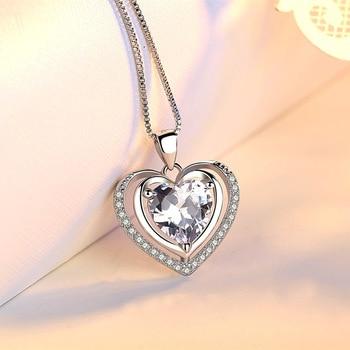 Handmade Rhinestone Pendant Cubic Zirconia Sterling Silver Heart Crystal Necklace  5
