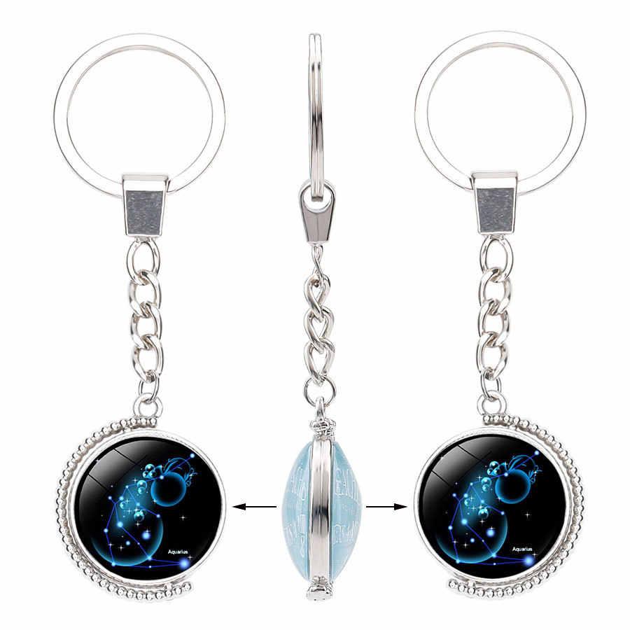 LG 99mm constelación signos llavero joyería colgante doble lado vidrio cabujón giratorio llavero anillo soporte regalo de cumpleaños