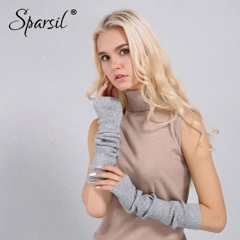 Sparsil Women Autumn Elbow Length Cashmere Knit Glove Solid Color Soft 40cm Fingerless Gloves Long Warm Handschoe Femal Mittens