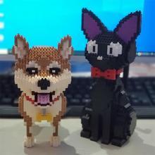 Mini Blocks Cute Shiba Inu Model Plastic Building Bricks Dog Educational Kids Toys Cartoon Cat Auction Figures Girls Gifts
