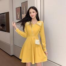 شيك الأصفر أنيقة اللباس المرأة الكورية نمط Kawaii السيدات البسيطة خمر اللباس طويلة الأكمام الشارع أزرار عارضة رداء فام S XL