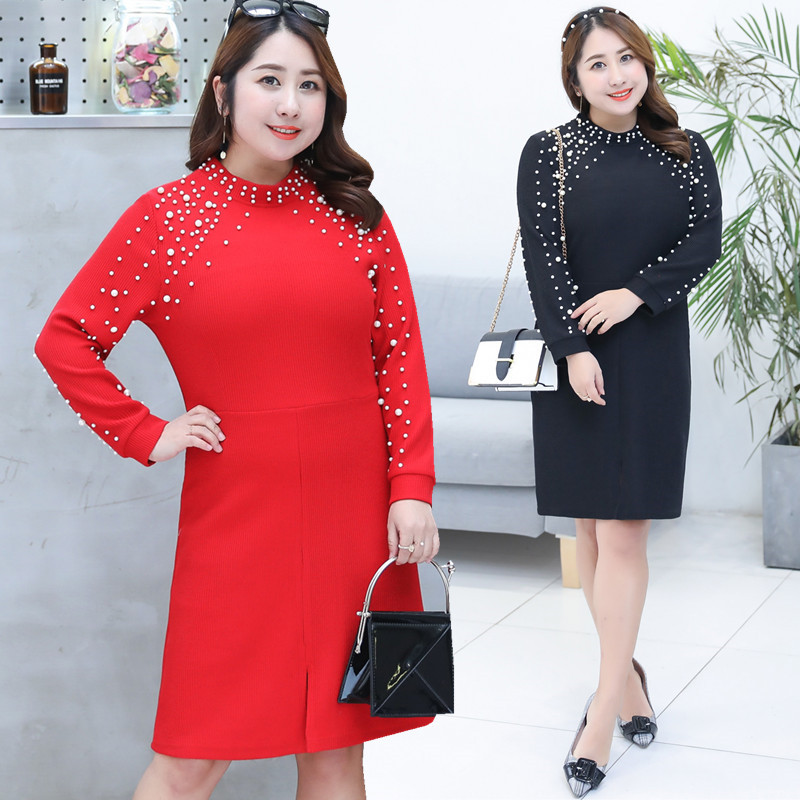 2019 Spring Clothing New Style Large GIRL'S Plus-sized WOMEN'S Dress Slimming Full Body Dress A Generation Of Fat Wholesale 1033